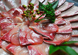 Fresh Sashimi of Buri caught in Tsushima's sea